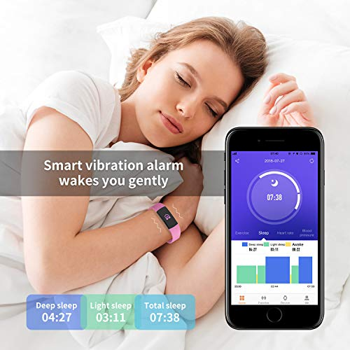 Fitness Tracker HR, Y1 Activity Tracker Watch with Heart Rate Monitor, Pedometer IP67 Waterproof Sleep Monitor Step Counter for Android & iPhone (Pink) by Akuti (Image #3)
