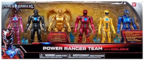 Bandai Collectible Power Rangers Team 6-Piece Set With Exclusive Metallic Goldar (Power Ranger Rangers)