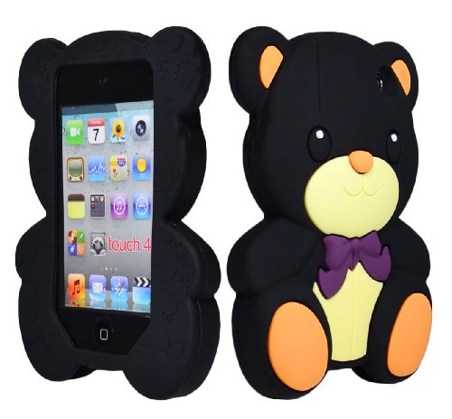 Bastex Soft Gel Silicone Flexible Cute Bear Case for Apple Ipod Touch 4, 4g - Black & Brown -