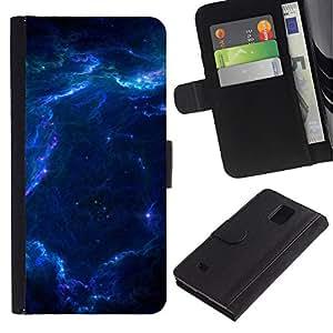 LASTONE PHONE CASE / Lujo Billetera de Cuero Caso del tirón Titular de la tarjeta Flip Carcasa Funda para Samsung Galaxy Note 4 SM-N910 / Nebula Galaxy Stardust Blue Universe Gas