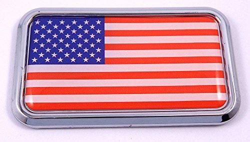 (USA American flag rectanguglar Chrome Emblem 3D Car Decal Sticker 3