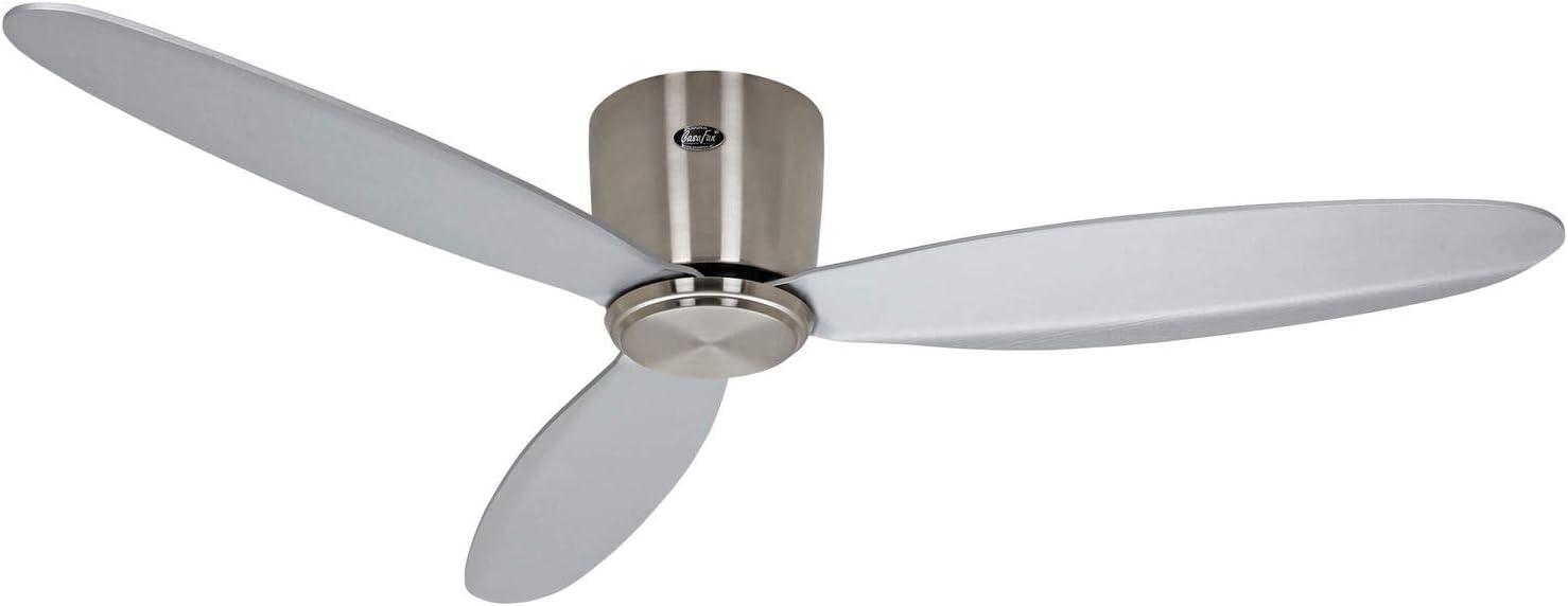 Casafan Ventilador de Techo 313280 Eco Plano II - Ideal para techos Bajos/Plateado / 132cm / hasta 25m2