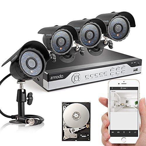 Zmodo 4CH 960H DVR 4x600TVL Day Night Outdoor Indoor CCTV Su