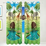 Vantaso Window Curtains 84 Inch Long Forest Animals Bear Elephant Giraffe for Kids Girls Boys Bedroom Living Room Light Shading Polyester 2 Pannels
