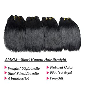 Ameli Brazilian Straight hair 4 Bundles Short Human Hair Weave Bundles Virgin Human Hair Extensions 8 inch 50g/Bundle Natural Color