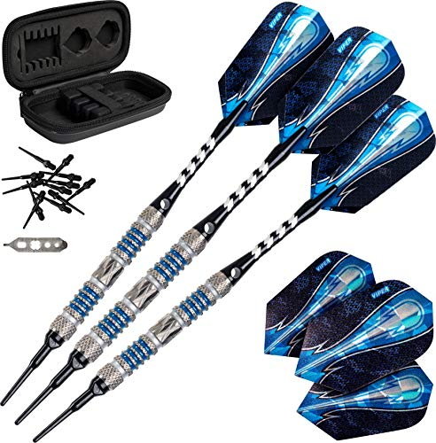 - Viper Astro 80% Tungsten Soft Tip Darts with Storage/Travel Case, Blue Rings, 16 Grams