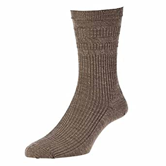 HJ Hall Womens Socks Non-Elastic Wool Rich Socks, Size 6-9, Taupe