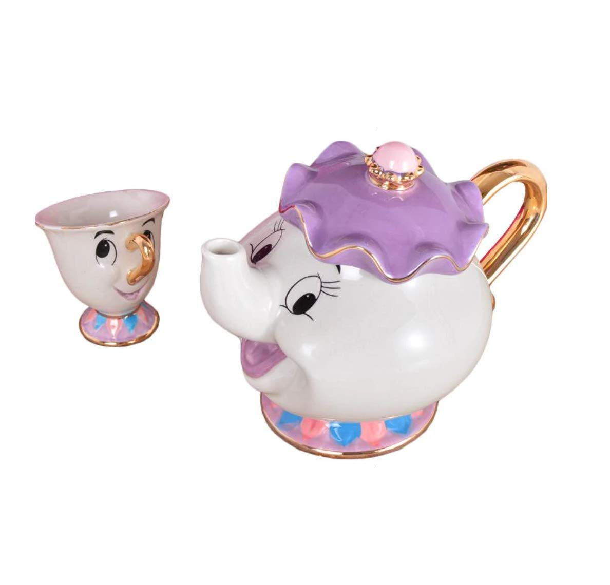 Beauty and The Beast Teapot Mug Mrs Potts Chip Tea Pot Cup Ceramic One Set Lovely Christmas Gift by HAMISS