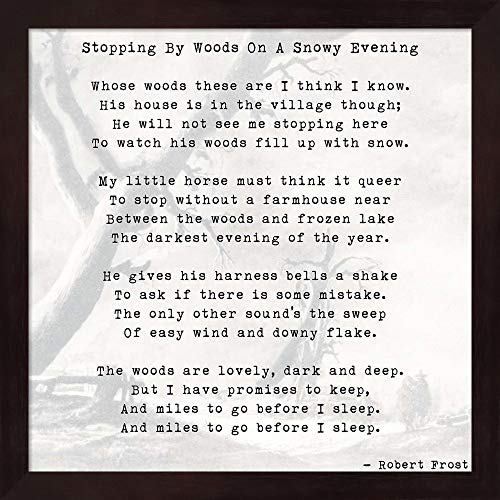 Stopping by Woods On A Snowy Evening - Robert Frost Framed Art Print Wall Picture, Deep Mahogany Frame, 13 x 13 inches