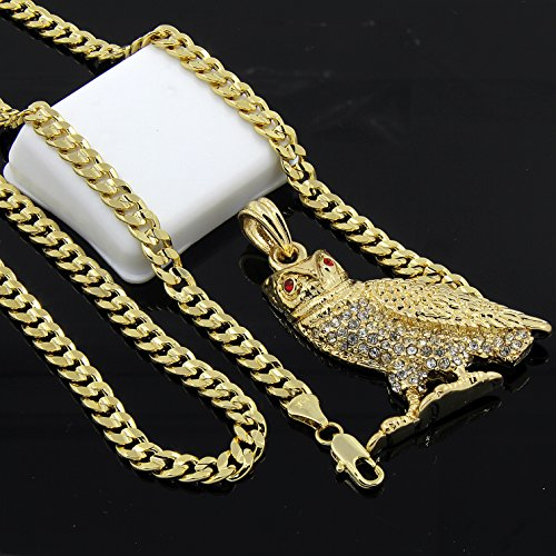 Mens Gold Plated Hip Hop Iced Out Owl Pendant 5mm 24