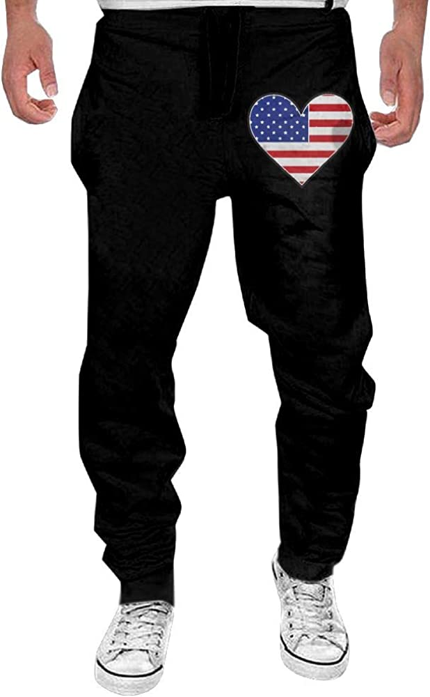 Yecx-1 Mens American Flag with Heart Casual Cotton Jogger Pants,Workout Beam Trousers