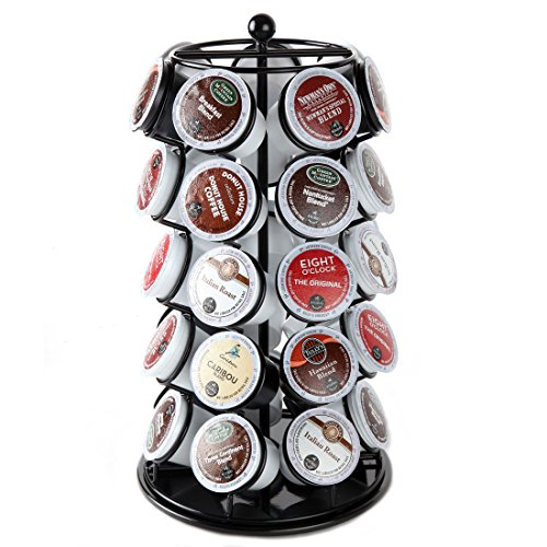 Lily's Home K Cup Holder Carousel for 35 K-Cups in Black. K Cup Storage in Style by Lilyshome