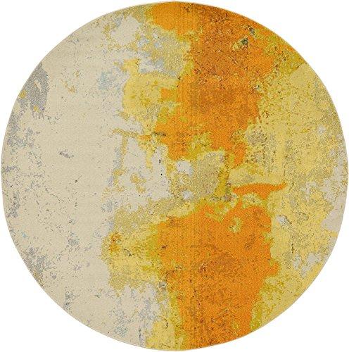 (Unique Loom Estrella Collection Vibrant Abstract Yellow Round Rug (8' 0 x 8' 0))