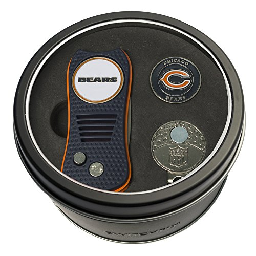 Team Golf NFL Chicago Bears Gift Set Switchblade Divot Tool, Cap Clip, & 2 Double-Sided Enamel Ball Markers, Patented Design, Less Damage to Greens, Switchblade Mechanism