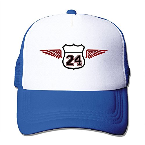 Men Numeber 24 Ameica Wings Mesh Back Cap Trucker - Home Cooperstown Fitted Cap