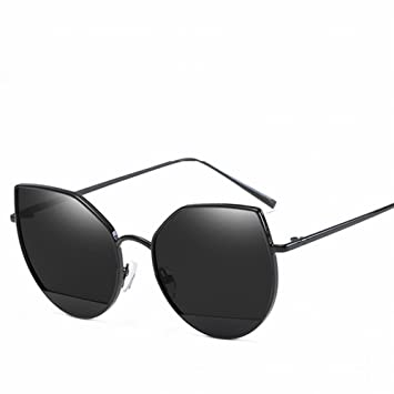 Metall Damen Sonnenbrille Trendy Katze Brille Ozean Linse Sonnenbrille , Silberrahmen Rote Linse