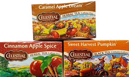 Cinnamon Apple Spice, Sweet Harvest Pumpkin - Tea Bags - Limited Edition Fall Variety Bundle of 3 Boxes - 60 Total Tea Bags ()