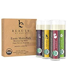 Organic Lip Balm Multi Pack; 4 Tubes of Fruit Flavoured Moisturising Natural Beeswax Chapstick with Aloe Vera, Shea Butter, Coconut Oil; Therapy and Repair Dry Chapped Cracked Lips For Men and Women