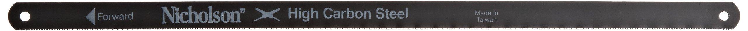 Nicholson Solid Flexible Carbon Steel Hacksaw Blade, Wavy, 12'' Length, 1/2'' Width, 0.025'' Gauge, 24 Gauge, 24 Teeth Per Inch (Pack of 100) by Apex Tool Group