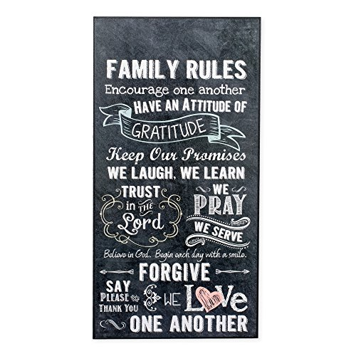 Family Rules Love One Another 16 x 8 Inch Dried Pinewood Decorative Hanging Wall (Rules Wall Hanging)