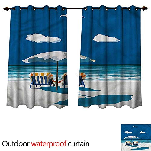 cobeDecor Coastal Outdoor Curtain for Patio Couple on Deck Chairs Beach W72 x L63(183cm x 160cm)