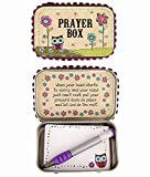 Natural Life Prayer Box Owl with Purple Flowers - Décor Gifts Inspirational Unique PBX007-NL
