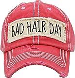 H-212-BHD52 Distressed Baseball Cap Vintage Women Dad Hat - Bad Hair Day (Coral)