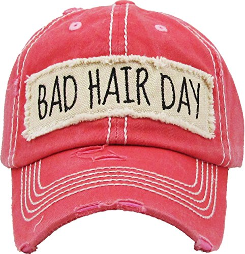 Mens Accessories Vintage Hats - H-212-BHD52 Distressed Baseball Cap Vintage Women Dad Hat - Bad Hair Day (Coral)