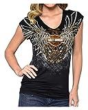 Automotive : Harley-Davidson Womens Blade to The Bone Embellished Short Sleeve Tee Black (XL)