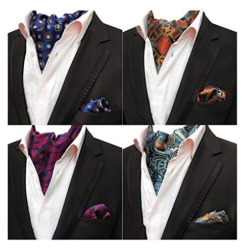 MOHSLEE Men's 4 Pack Geometric Paisley Cravat Ascot Scarf Ties Pocket Square Set