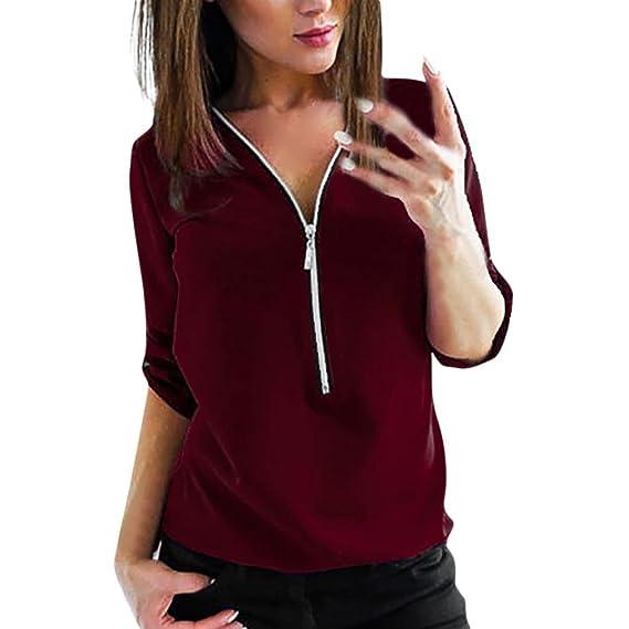 Blusas y camisas para Mujeres Ocasionales Manga Larga Cremallera De La Cuello En V Dobladillo Irregular De Decoracion Camisas Tapas Camisetas y tops para ...