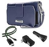 Sahara Women's Wristlet Clutch Wallet Blue Indigo + Home & Car Charger + Lightning Cable for Sony Xperia Smartphones (Z3+, C4, Z4, M4 Aqua, E3
