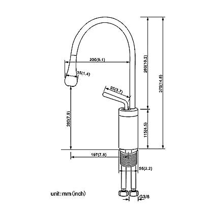 Auralum - Grifo monomando para lavabo (caño alto), color ...