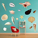 decalmile Sea Shells and Starfish Wall Decals Peel and Stick Wall Stickers Home Decoration Living Room Bedroom Bathroom Wall Decor