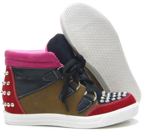 Schuh-City Trendy Damen Schuhe Sneaker Fashion Stiefelette mit Nieten Rot