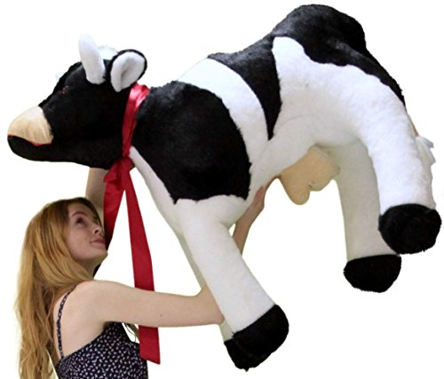 Big Plush American Made Giant Stuffed Cow 3 and a Half Feet Long Farm Animal Soft 42 Inches Long Made in The USA America
