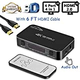 HDMI Switch with Remote, Famirosa 4 Port 4 in 1 Out Hdmi Switcher with Audio Out, Mini Hdmi 2.0 Selector Kvm Switch Box