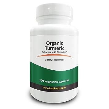 Real Herbs Curcumina de cúrcuma orgánica 745 mg con 5 mg de BioPerine (potenciador de la biodisponibilidad natural para una mejor absorción): 100 cápsulas ...