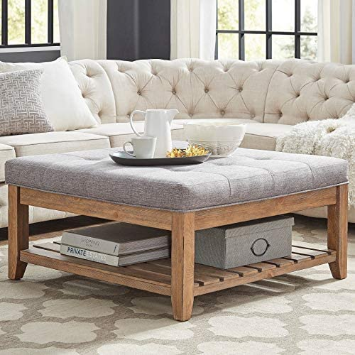 Inspire Q Lennon Pine Planked Storage Ottoman Coffee Table