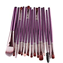 Susenstone 15 pcs/Sets Eye Shadow Foundation Eyebrow Lip Brush Makeup Brushes Tool (Purple)