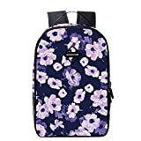 "Artone Water Resistant Flower Backpack With Laptop Compartment Fit 14"" Laptop Purple"