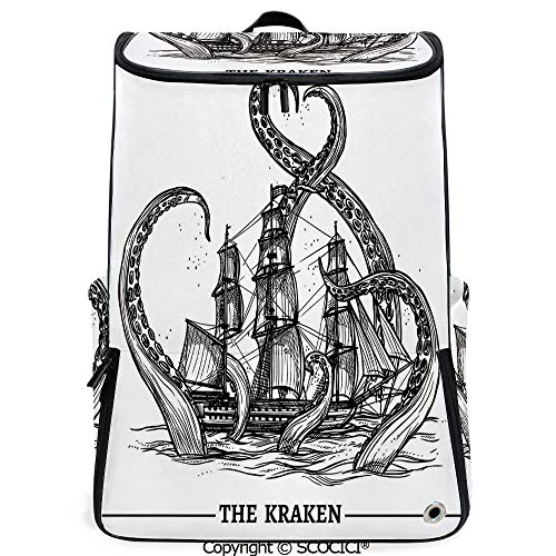 SCOCICI Large Casual Backpack,Giant Octopus Catches Old Style Sail Ship Monster Adventure Story Themed Art,Backpack with Shoes Compartment