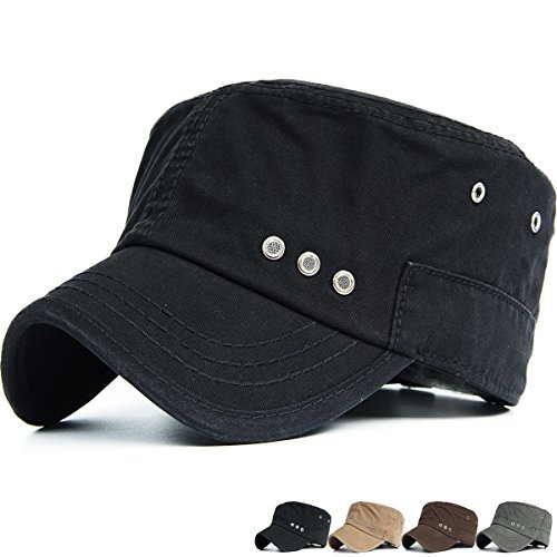 REDSHARKS Washed Cotton Cadet Cap Military Army Hat Various Style Ventilation Eyelets Black