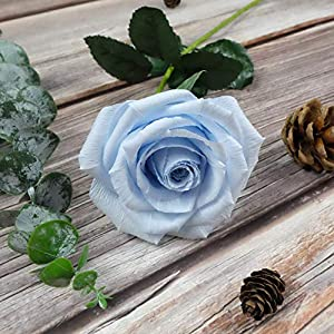 Baby Blue Paper Rose Unique Anniversary Gift For Her Handmade Crepe Paper Flowers for Valentine Birthday Mother Day, Single Long Stem Real Looking, 01 Flower 1