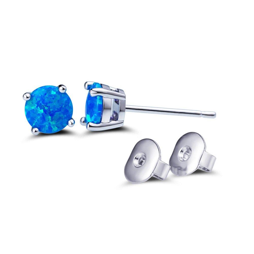 SUMMER LOVE Opal Stud Earrings for Women 6mm Small Round Cut Opal Stud Earring
