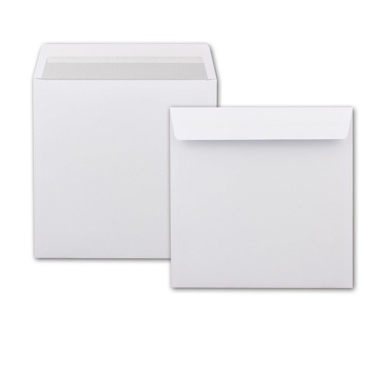 Briefumschläge Quadratisch Quadratisch Quadratisch 220 x 220 mm - Weiß mit grauem Innendruck   1000 Stück   EXTRA QUALITÄT - 100 g m²   22 x 22 cm - Für ganz besondere Anlässe  - Haftklebung - Qualitätsmarke  Gustav NEUSER B077M98NLQ   Ho 3b11cd