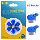 EBL Size 675 PR44 Hearing Aid Batteries 60 Pack 1.45V Zinc-Air Battery