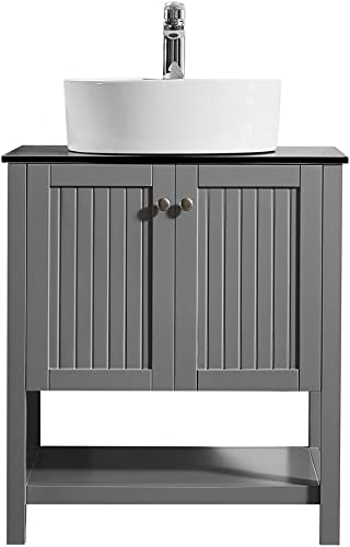 Vinnova 756028-GR-BG-NM Modena 28 Vanity In Grey with Glass Countertop with White Vessel Sink Without Mirror