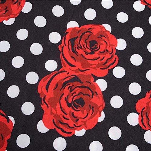 Robe Manches sans Cocktail Lonshell Audrey Rtro 2 Robe Hepburn Robes de Soire Style Imprime Florale de Casual Femme Vintage 's Robe Princesse 1950 Noir wFq8tIw