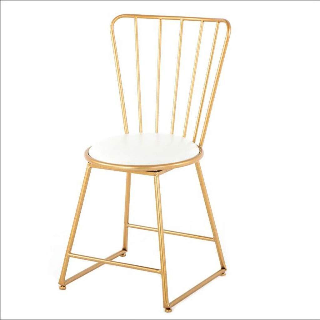 FU CHAIR Openwork Wrought Iron Chair Cafe Bar Restaurant Backrest Chair golden Dresser Makeup Chair,40  38  80cm